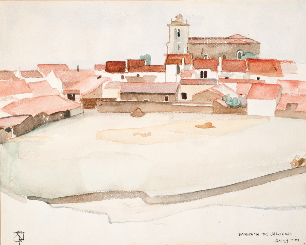 24/9/1961 Panorama de Salorino. Salorino In Slow Stories 3, six  reproductions were made of  the 27 watercolours Adriaan van der Staay made during his Spanish trip in 1961. This is number one: Panorama of Salorino, published in the book.