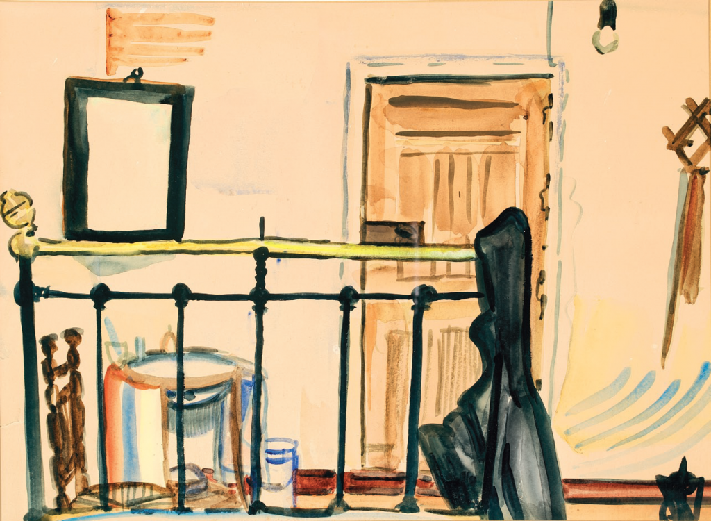 1961 Kamer. Salorino In Slow Stories 3, six  reproductions were made of  the 27 watercolours Adriaan van der Staay made during his Spanish trip in 1961. This is number two: a room in Salorino, published in the book.