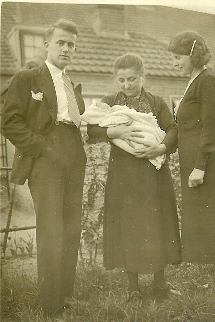 "My father Jelle, my Frisian grandmother Tetje, my mother ""Rie""- and myself as baby, Delft 1939 Mijn vader Jelle, mijn Friese grootmoeder Tetje, mijn moeder ""Rie""- en ikzelf als baby op de arm gedragen, Delft 1939"